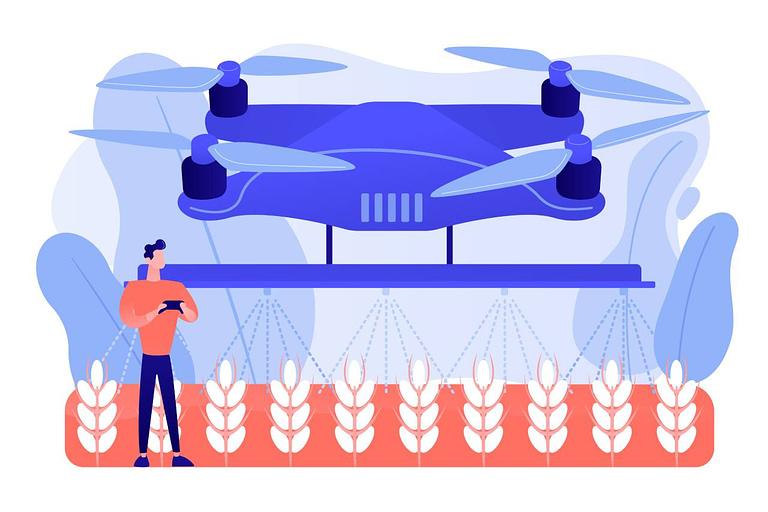 Drone realizando pulverização em plantação