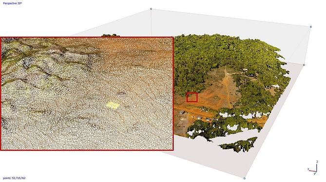 Perspectiva 3D de local capturada através da aerofotogrametria
