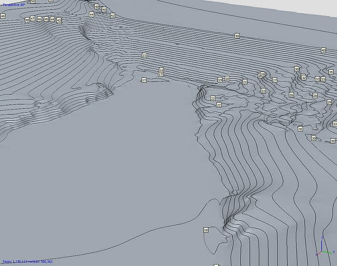 Curvas de nível Landfil MDT 3D capturadas por drone