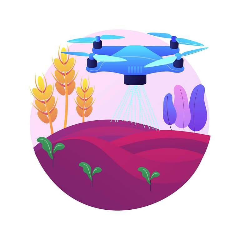 Drone pulverizando campo