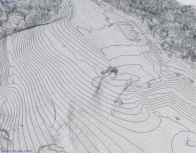 Curvas de nível MDT capturadas por drone